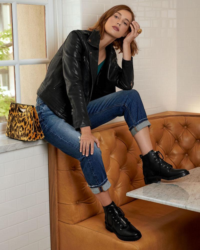 FRAME Zip-Front Slim Leather Moto Jacket