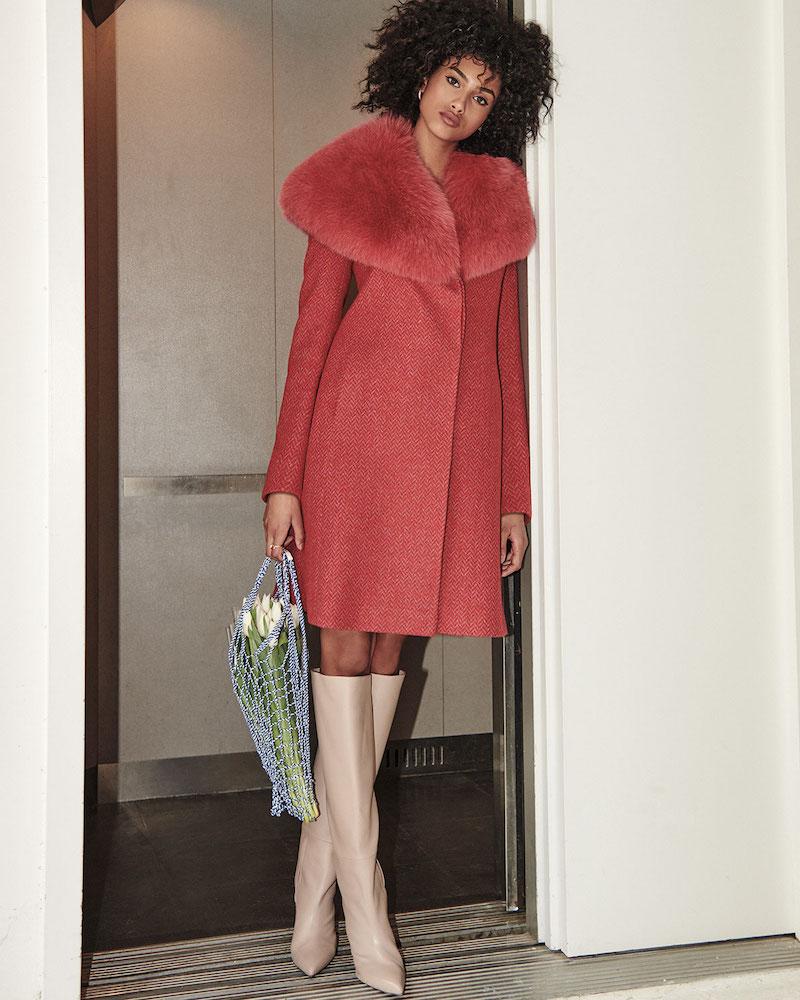 Fleurette Wrap Coat with Wide Fur Collar
