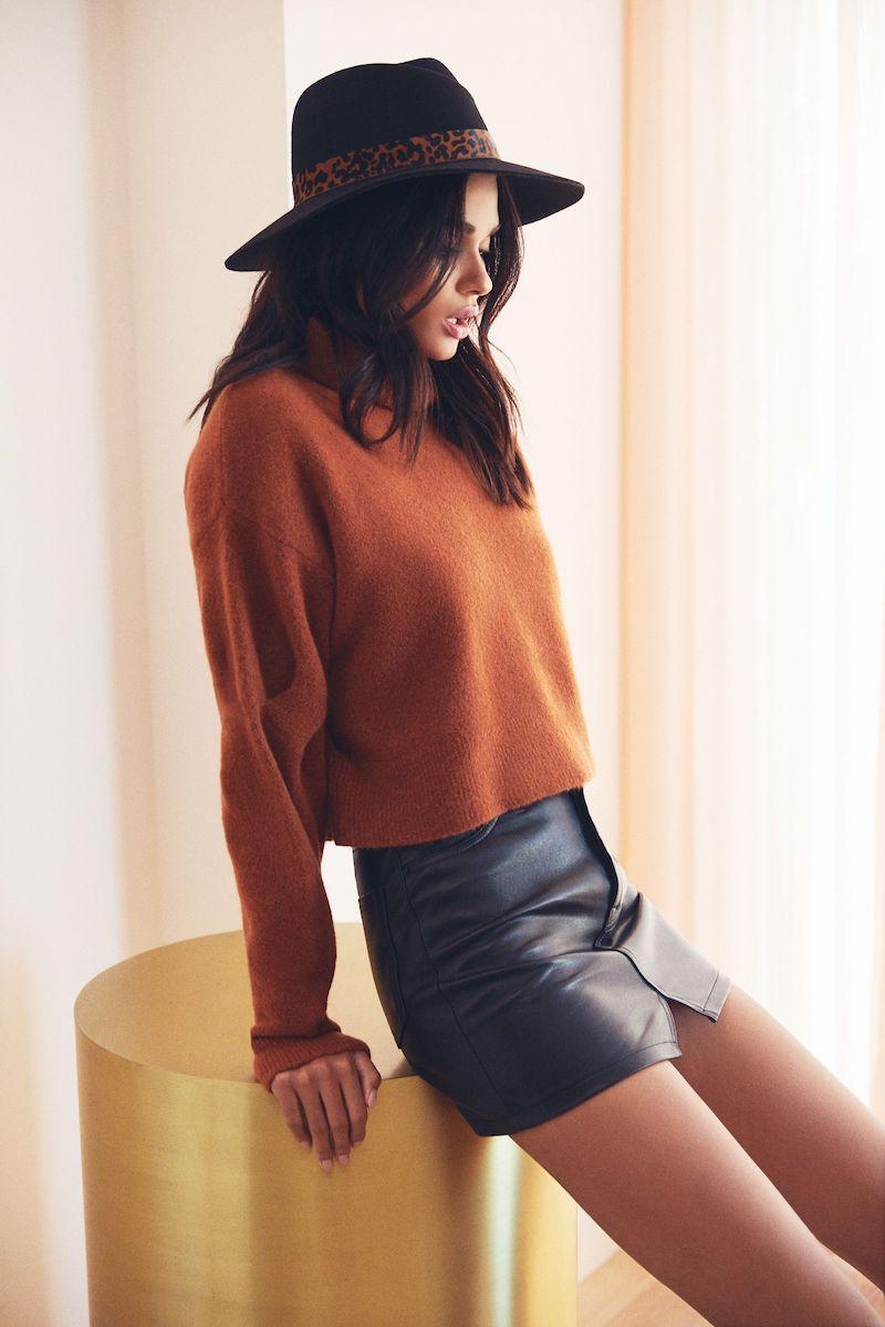 GRLFRND Zamira A-Frame Gusset Leather Skirt