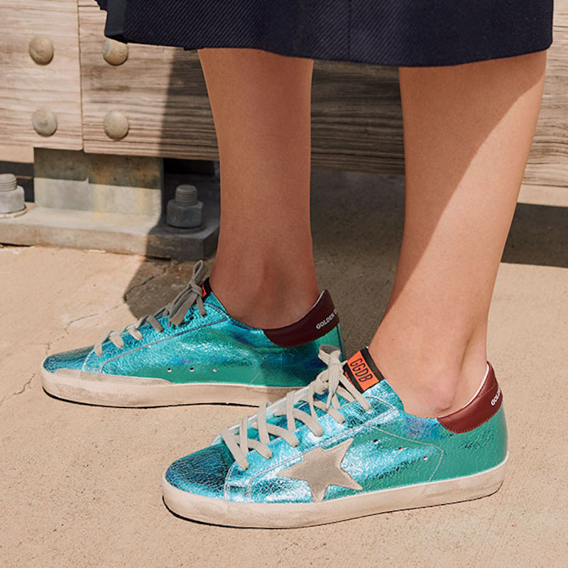Golden Goose Superstar Sneakers in Metallic Aquamarine
