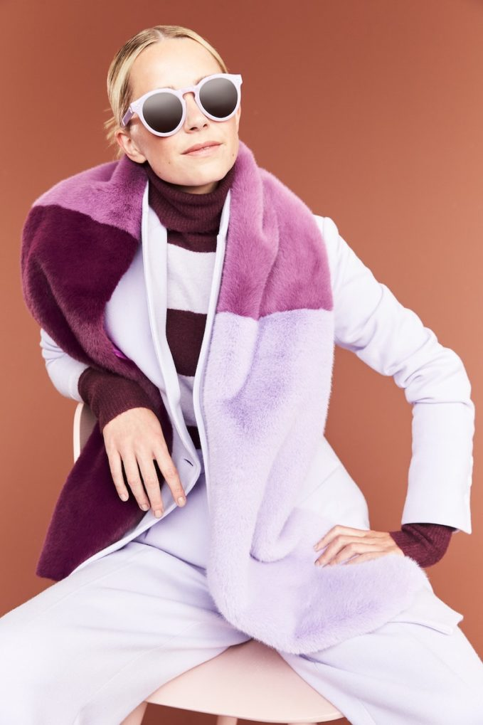Halogen x Atlantic-Pacific Colorblock Faux Fur Stole