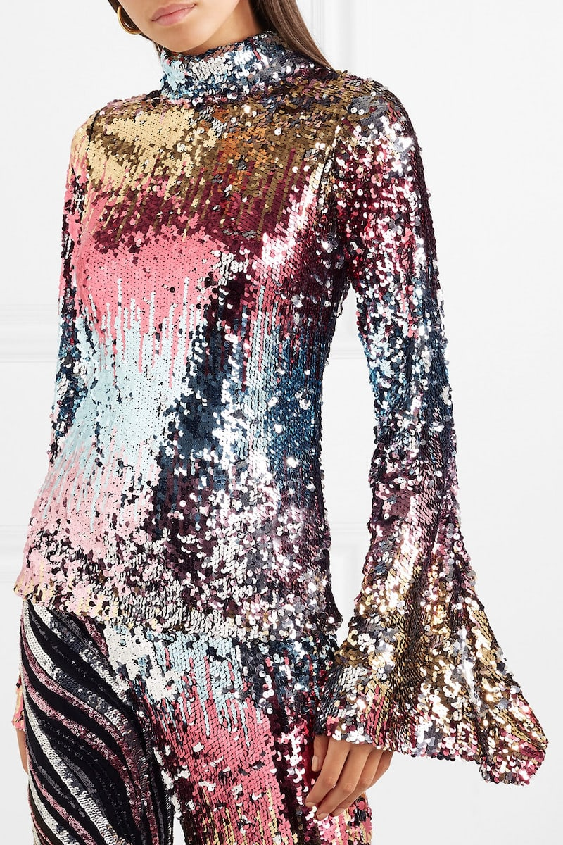 Halpern Sequined Tulle Top
