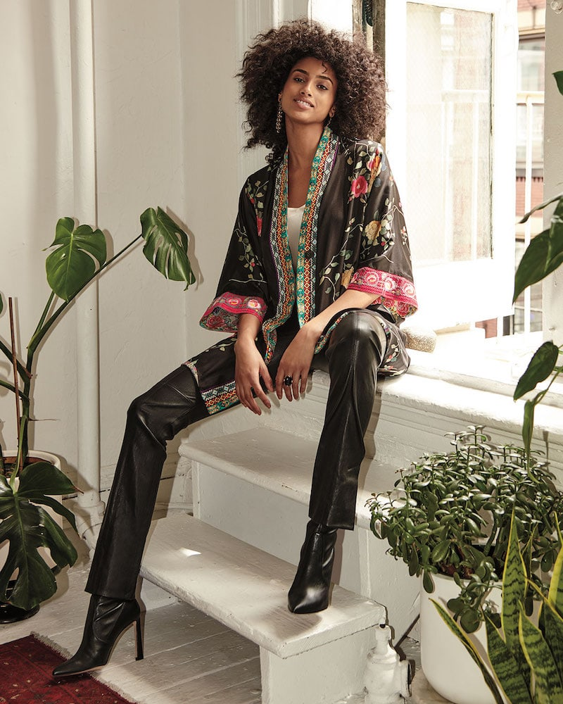 Johnny Was Rose Reversible Snap-Front Silk Twill Kimono Jacket