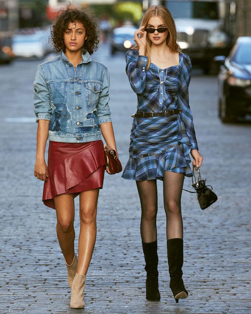 Joie Botan Draped Ruffle Leather Mini Skirt