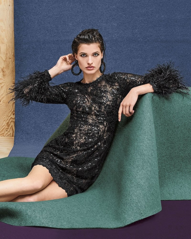 Jovani Sequin & Lace Dress with Feather Sleeves