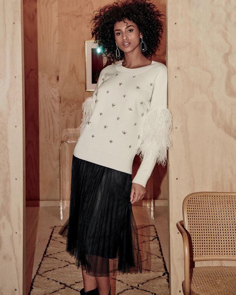 Kobi Halperin Maureen Embellished Crewneck Pullover Sweater with Ostrich Feathers