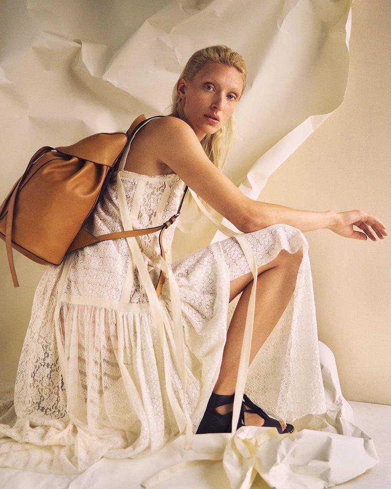Loewe Contrast-Panel Zigzag Twill Dress
