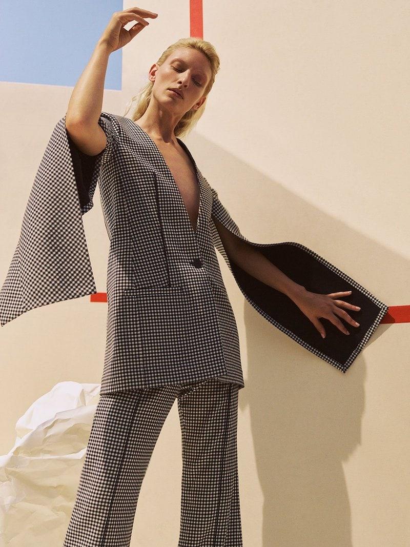 Loewe Slit-Sleeve Houndstooth Wool Coat