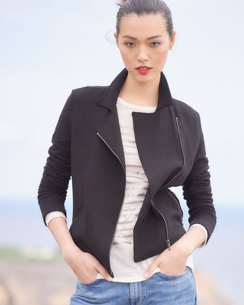 Majestic Paris for Neiman Marcus French Terry Zip-Front Moto Jacket
