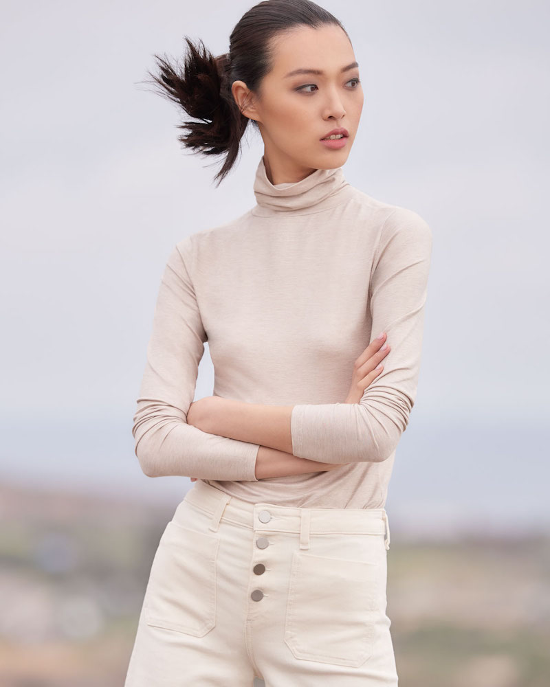 Majestic Paris for Neiman Marcus Metallic Knit Turtleneck Top
