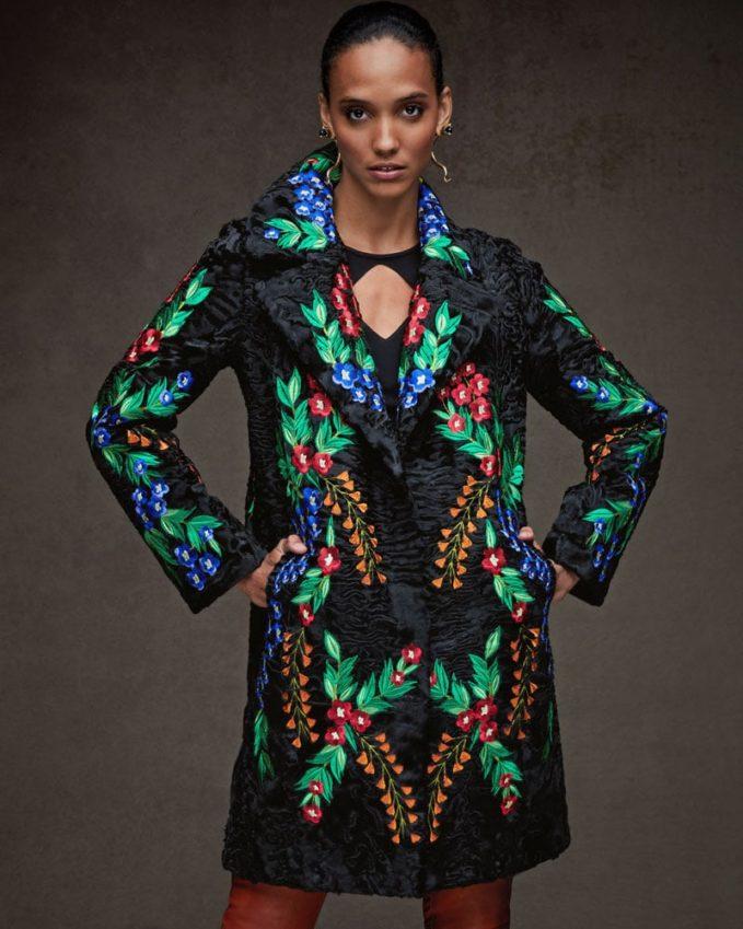 Maurizio Braschi Floral-Embroidered Swakara Fur Stroller Coat