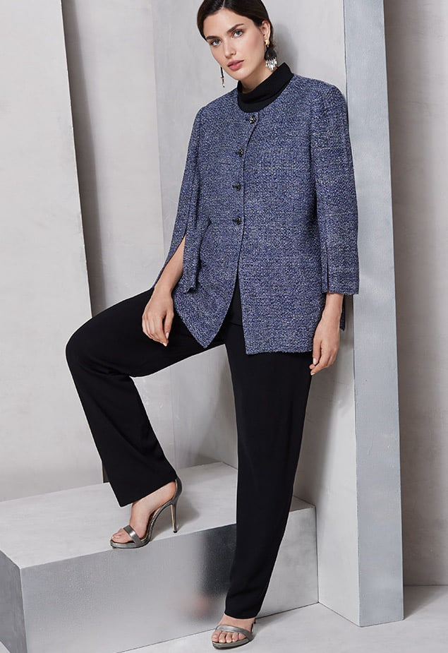 Misook Tweed Button-Front Jacket with Split Sleeves