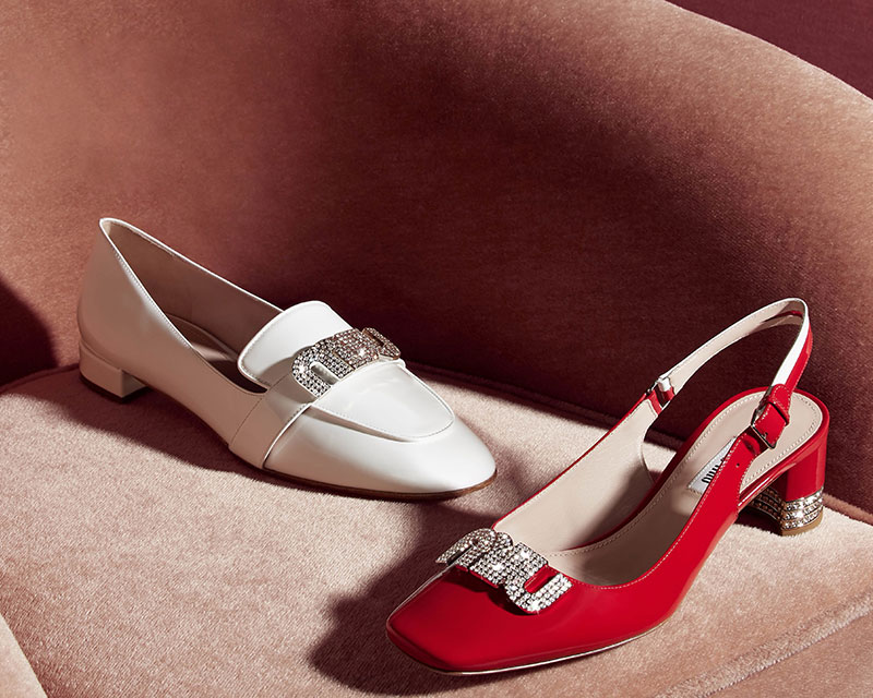 Miu Miu Crystal Logo Patent Leather Loafers