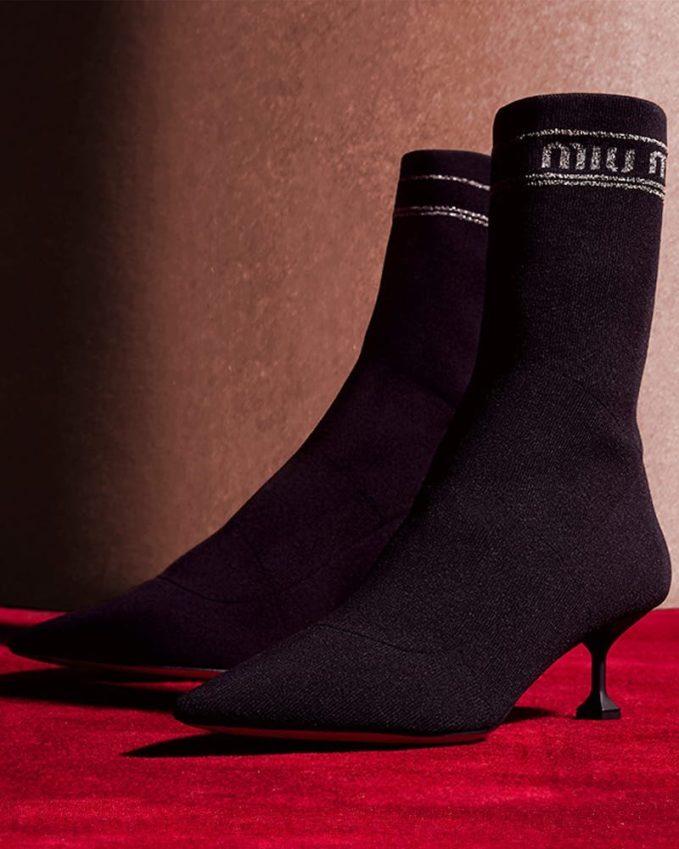 Miu Miu Rib-Knit Sock-Style Ankle Boots
