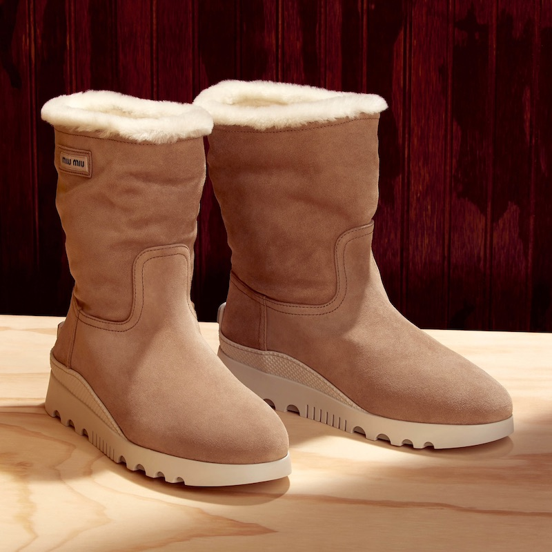 Miu Miu Sheepskin Shearling-Lined Suede Ankle Boots