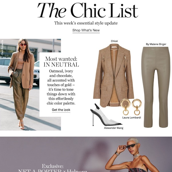 NET-A-PORTER The Chic List October 14, 2018