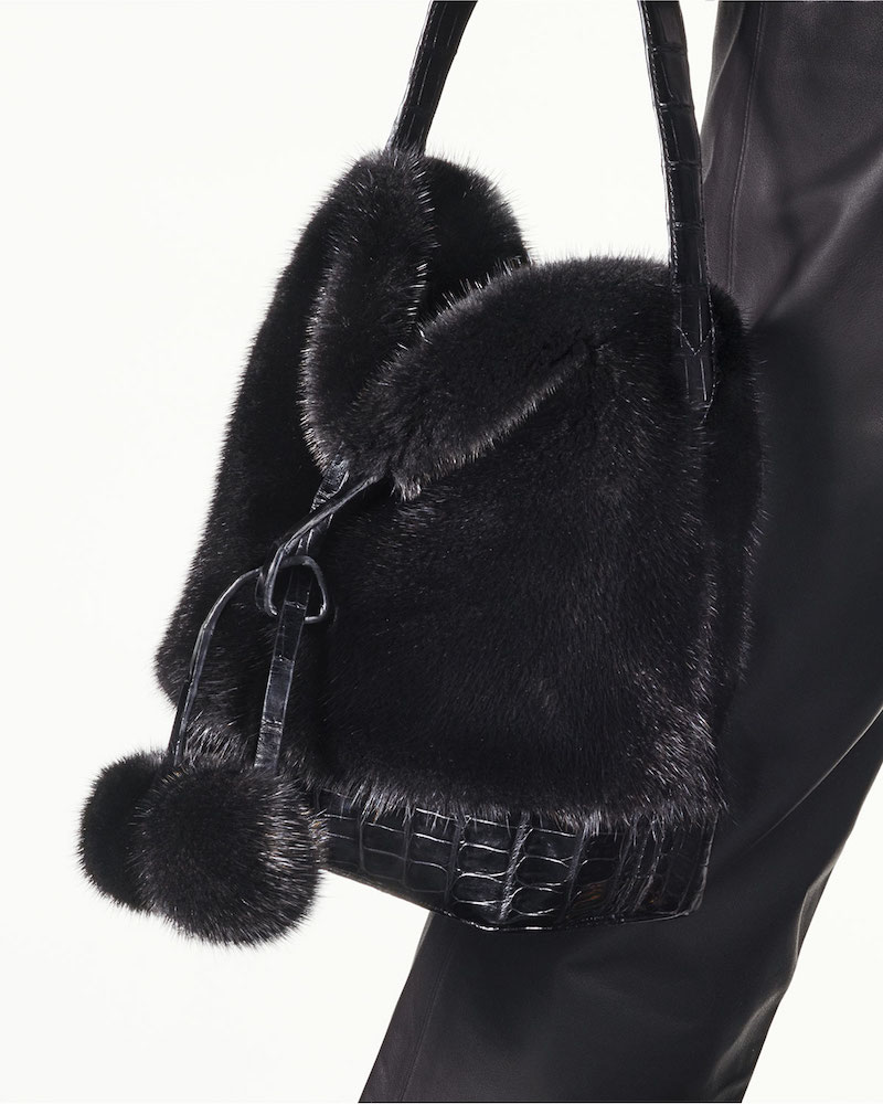 Nancy Gonzalez Nina Small Mink Fur Bucket Bag with Crocodile Trim