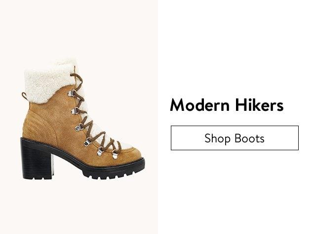 Modern hiking boots.