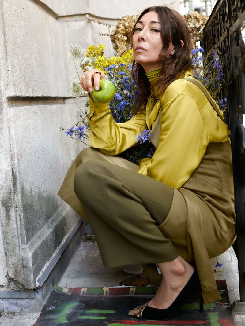 & Other Stories Tailored Button Up Shirt in Chartreuse