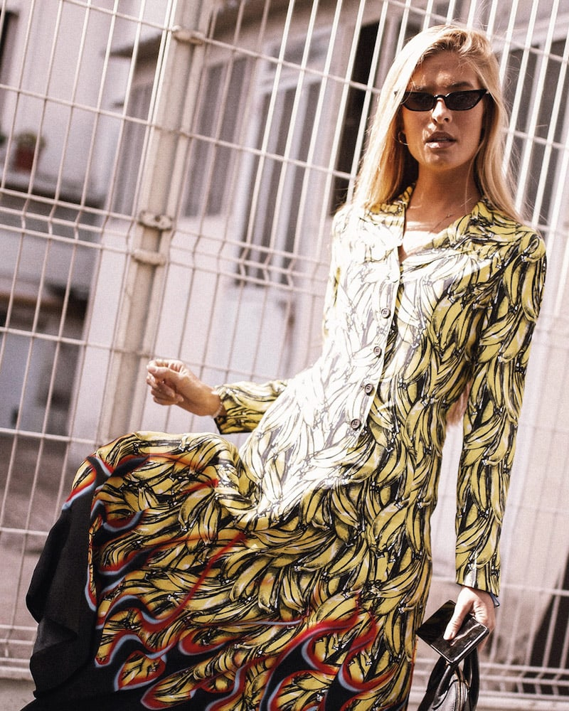 Prada Banana Flames Print Twill Long Dress