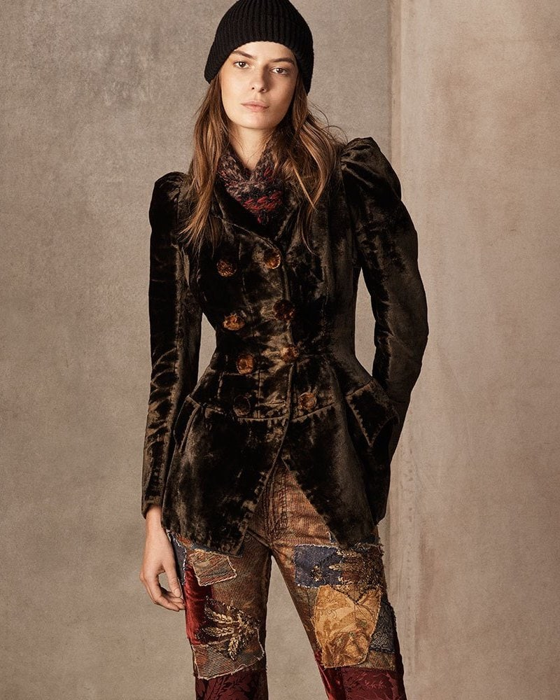 Ralph Lauren Collection 50th Anniversary Bettie Double-Breasted Velvet Jacket with Puff-Sleeves