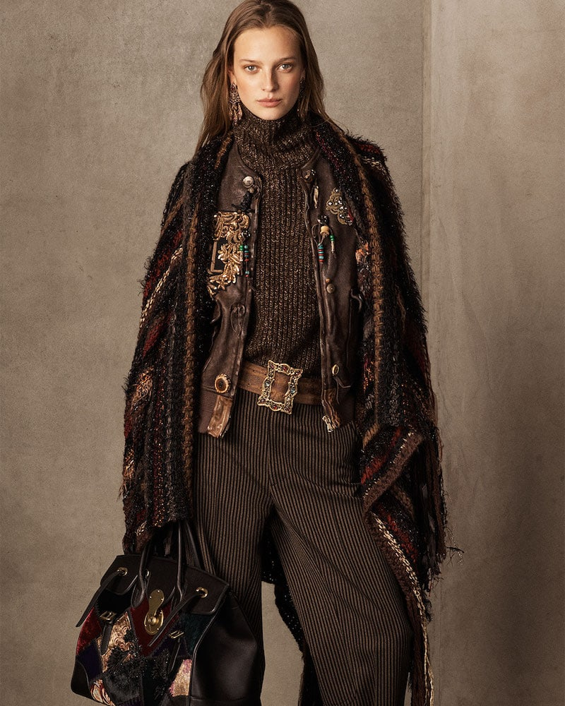 Ralph Lauren Collection 50th Anniversary Chenille Textured Stripe Poncho with Fringe