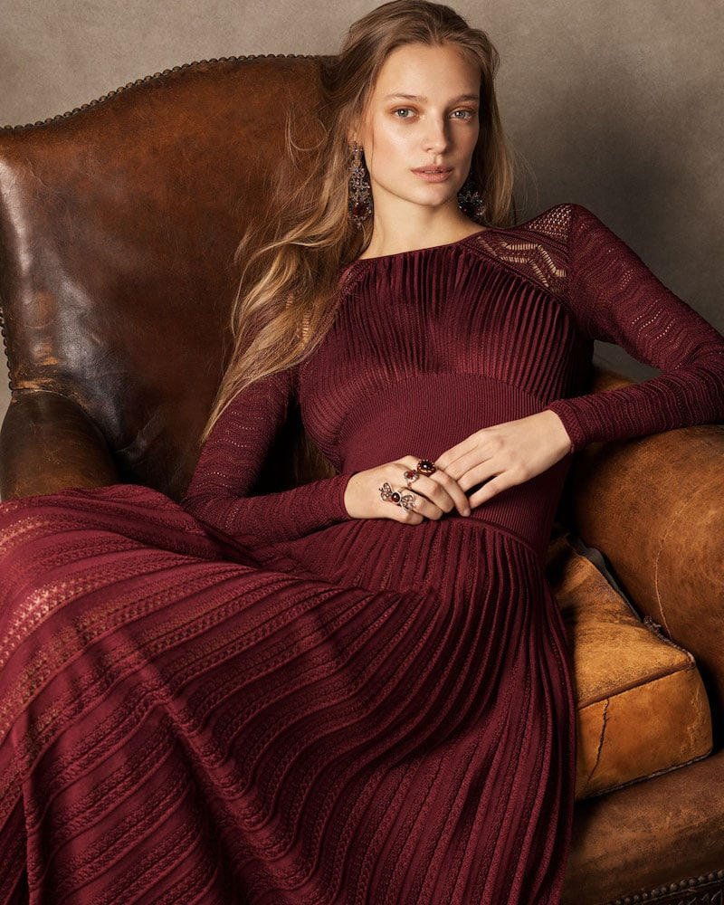 Ralph Lauren Collection 50th Anniversary Empire-Waist Long-Sleeve Pleated Long Evening Gown