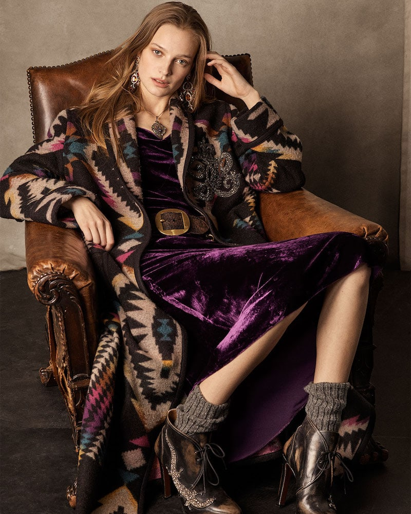Ralph Lauren Collection 50th Anniversary Sauville Embellished One-Button Tapestry-Intarsia Long Coat