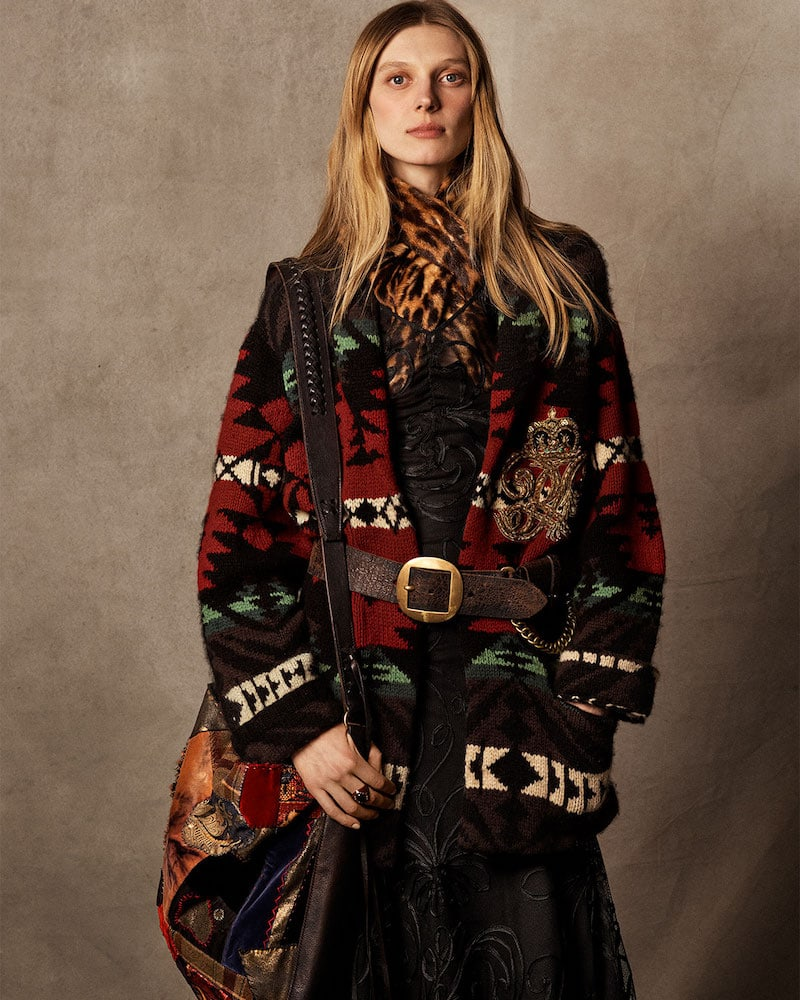 Ralph Lauren Collection 50th Anniversary Shawl-Collar Intarsia Cashmere-Wool Cardigan with Embroidered Crest Detail
