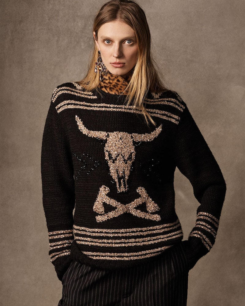 Ralph Lauren Collection 50th Anniversary Steer Head Embroidered Crewneck Cashmere-Linen Sweater
