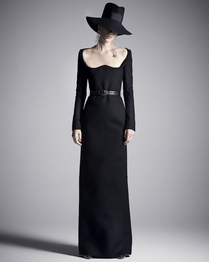 Saint Laurent Off-the-Shoulder Scoop-Neck Long-Sleeve A-Line Wool Evening Gown