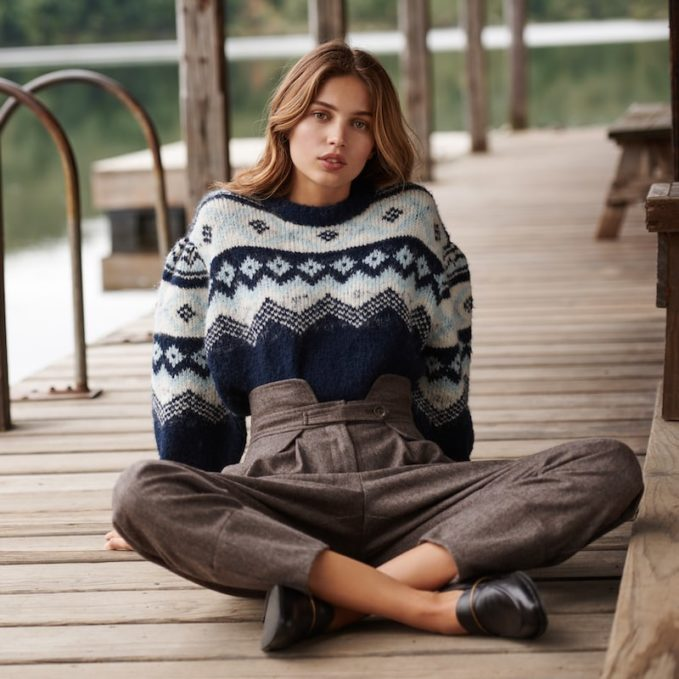 Sea Fair Isle Sleeve Sweater