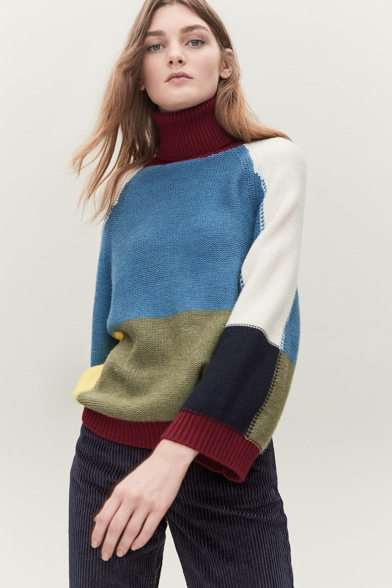 See by Chloé Colorblock Crop Sleeve Wool Sweater
