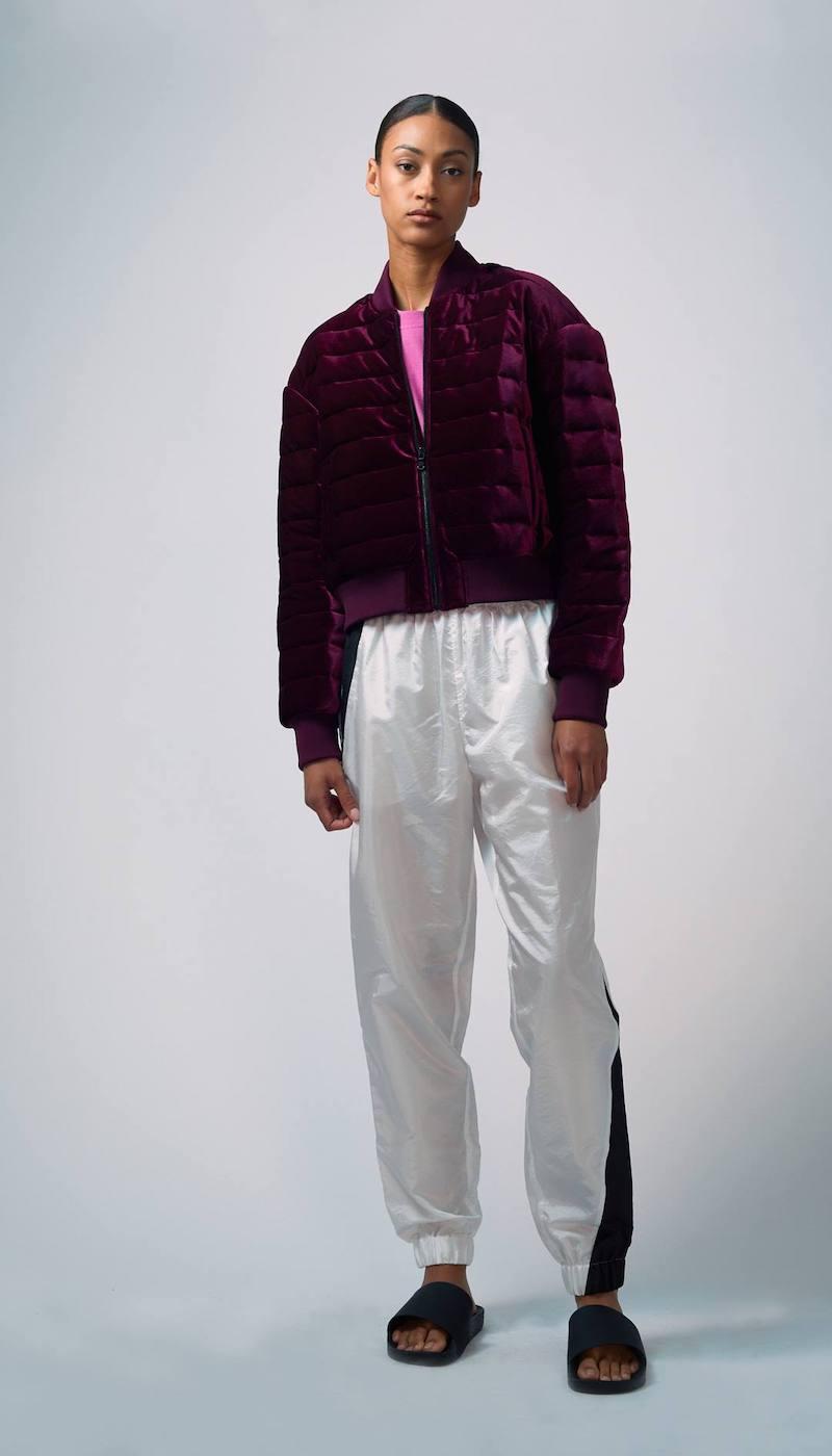 Tibi Quilted Velvet Bomber Jacket