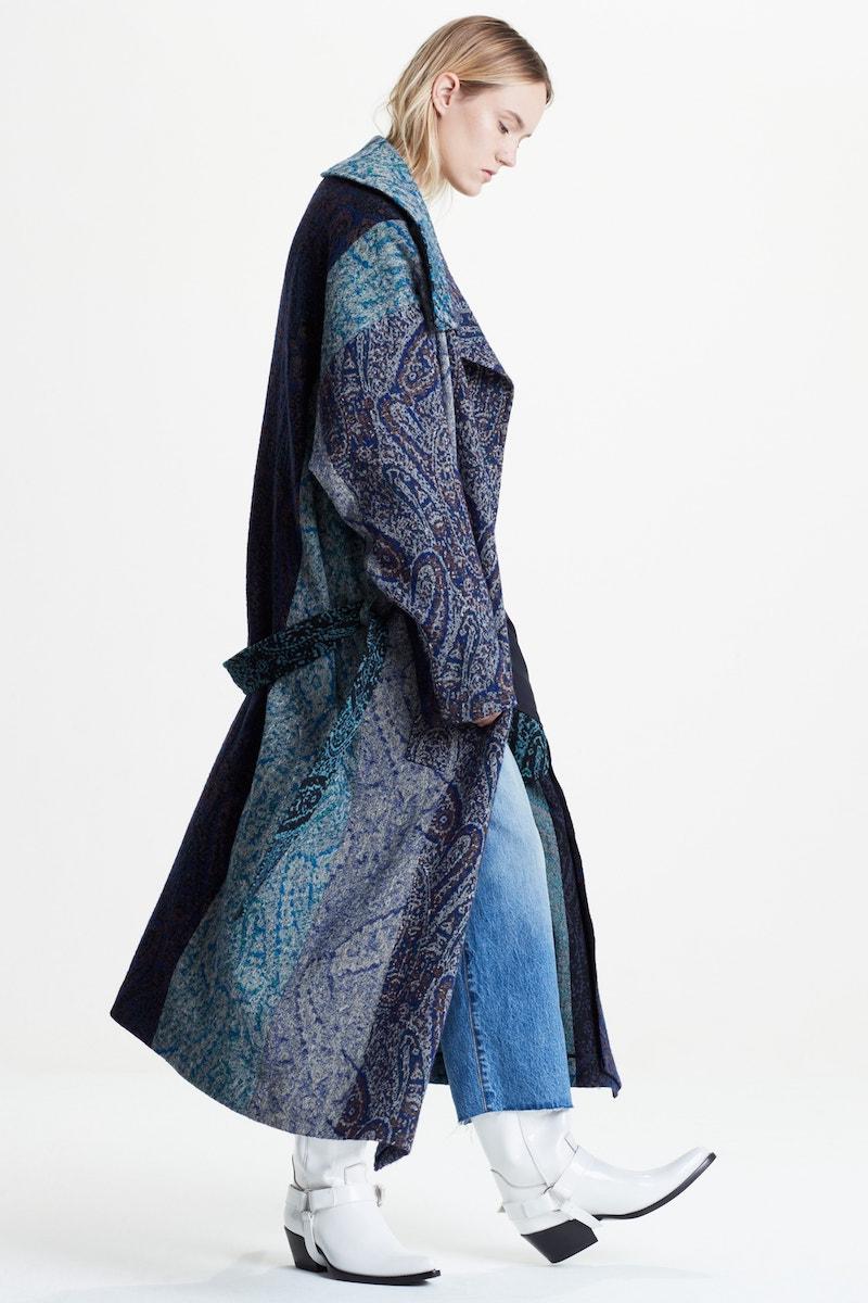 Y's by Yohji Yamamoto Paisley Jacquard Wool Coat