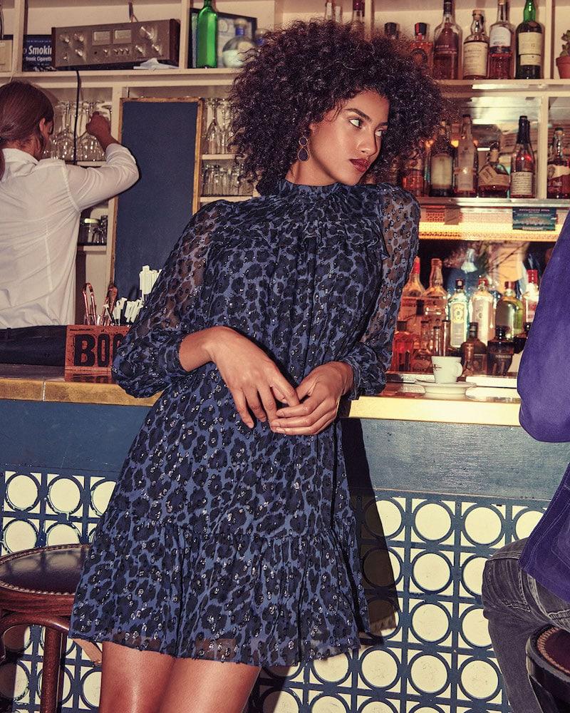 kate spade new york Leopard Clip Dot Long-Sleeve Mini Dress