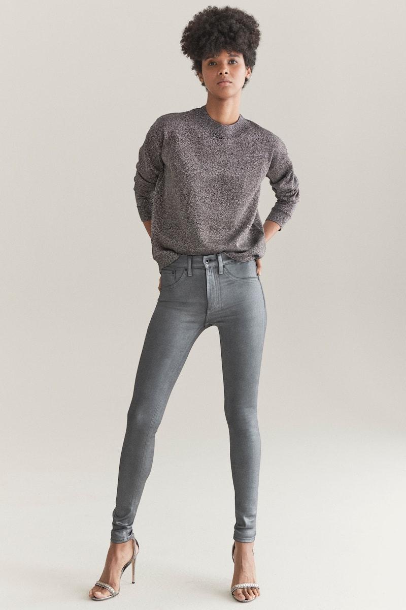 rag & bone/JEAN High Waist Ankle Coated Skinny Jeans