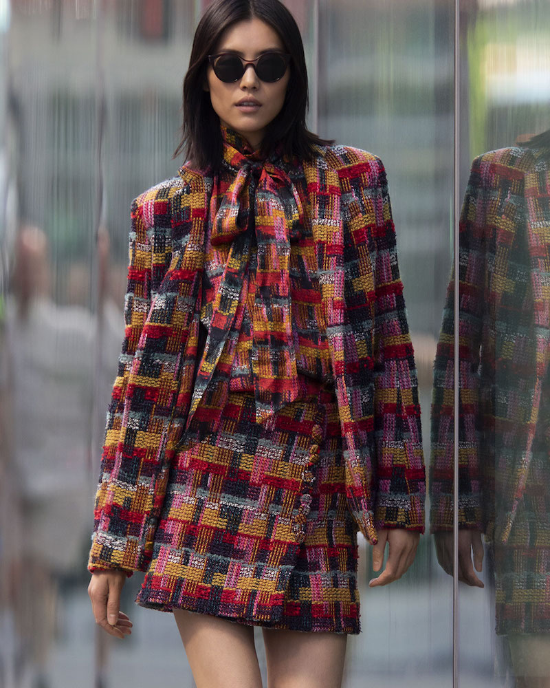 Adam Lippes Plaid Tweed Blazer with Pockets