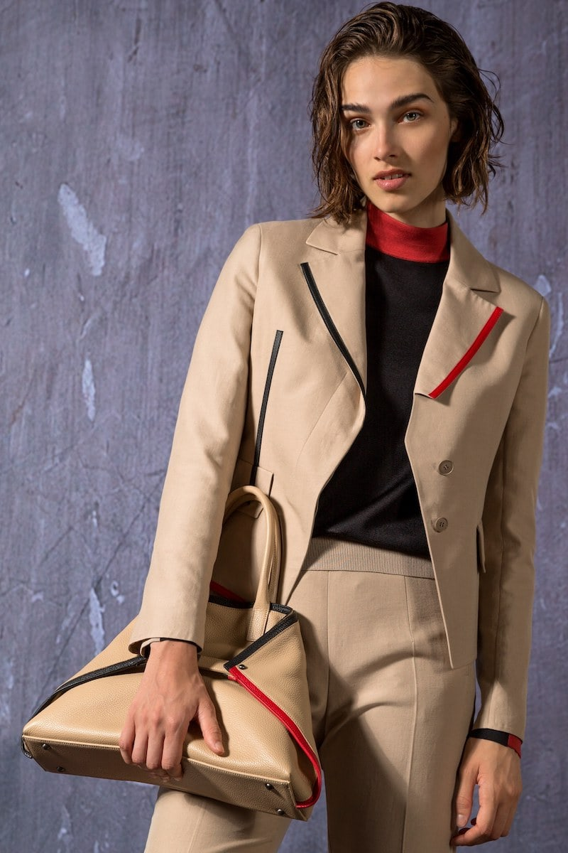 Akris Aiko Short Leather-Contrast Jacket