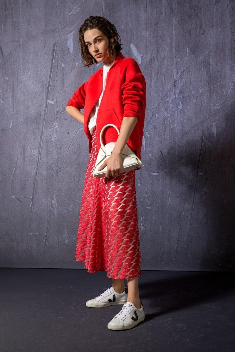 Akris Long Lips Embroidery Skirt