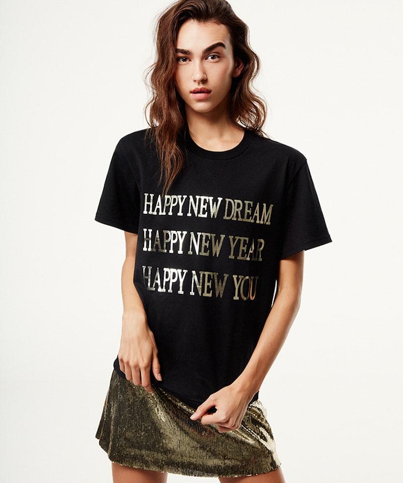 Alberta Ferretti Black Happy New Year Silk Jersey T-shirt