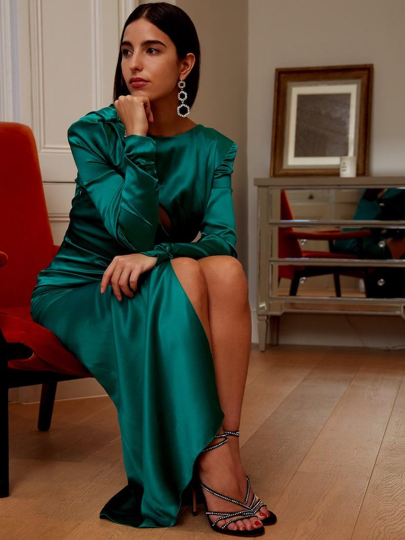 Alessandra Rich Ruched Crystal-embellished Silk-satin Midi Dress
