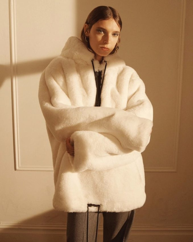 BIANNUAL Faux-Fur Oversized Quarter-Zip Jacket