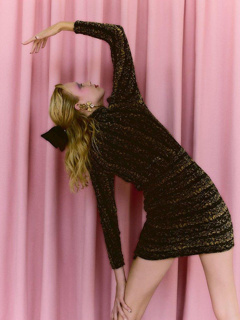 Balenciaga Draped Velvet Mini Dress