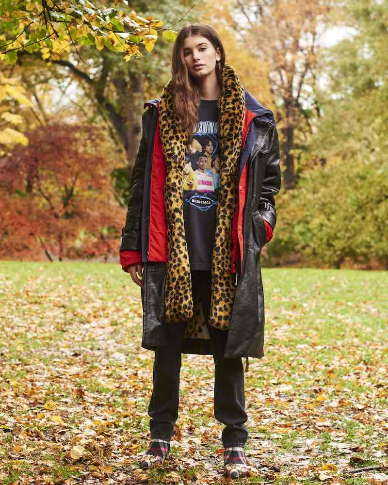 Balenciaga Layered Leather & Leopard-Print Hooded Trench Coat