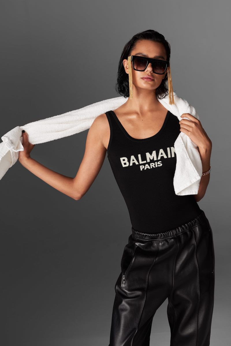 Balmain Scoop-Neck Logo-Print Bodysuit