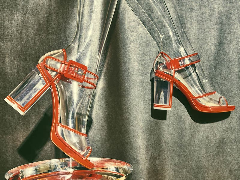 Christian Louboutin Barbaclara Patent Leather & PVC Platform Sandals