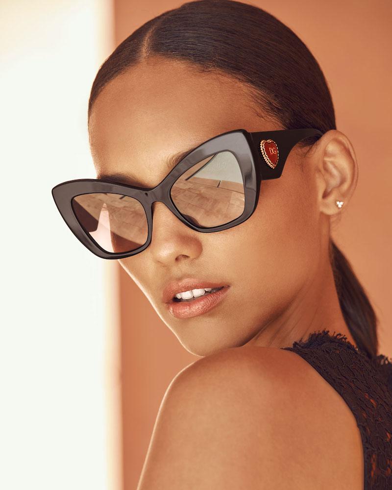 Dolce & Gabbana Chunky Cat-Eye Sunglasses with Logo Heart Temples