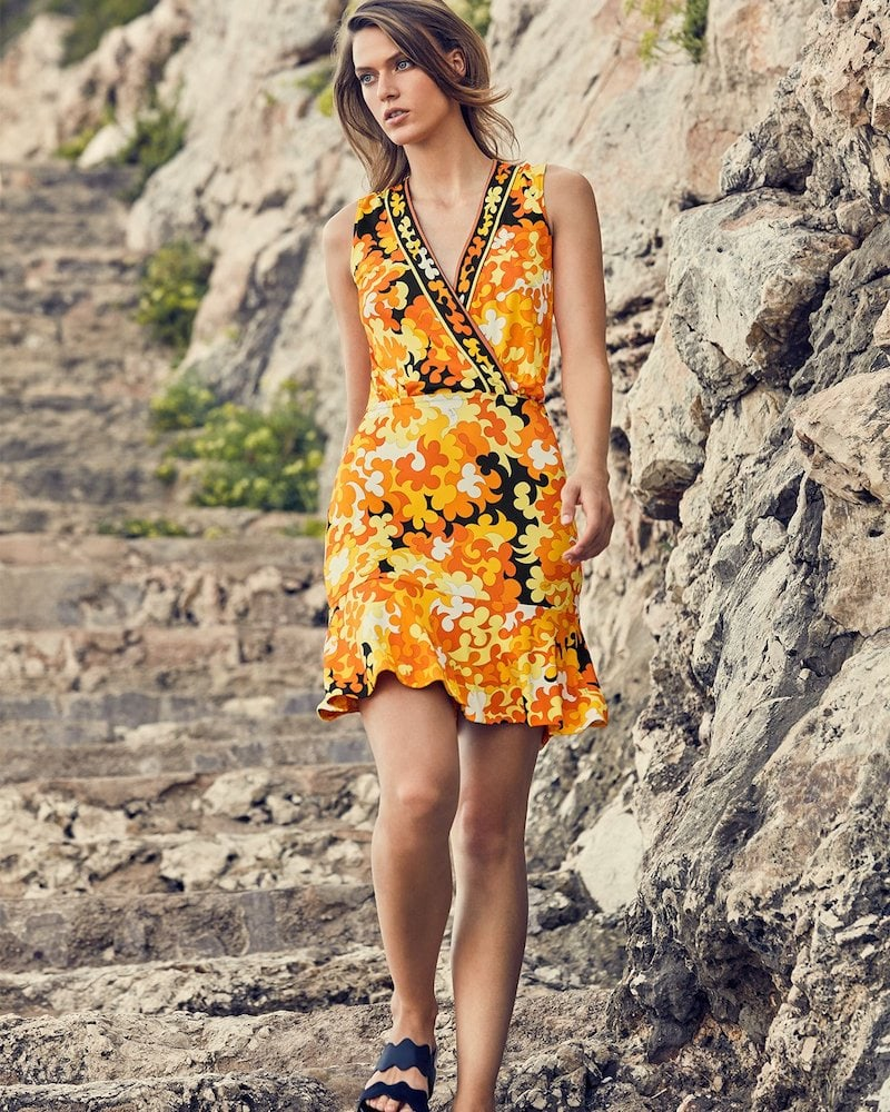 Emilio Pucci Sleeveless Surplice-Neck Hydrangea-Print A-Line Dress