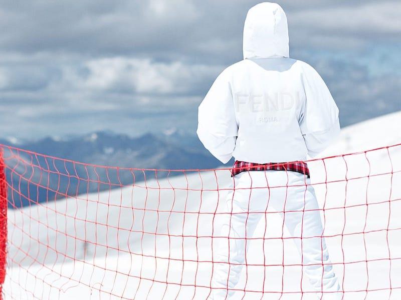 Fendi Hooded Cropped-Sleeve Down Ski Jacket